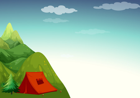 camping site: Mountain view with camping site on top Illustration