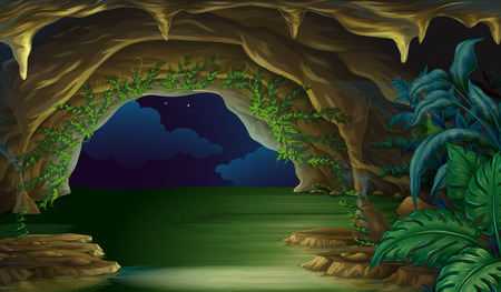 View of dark cave at night Stock Illustratie