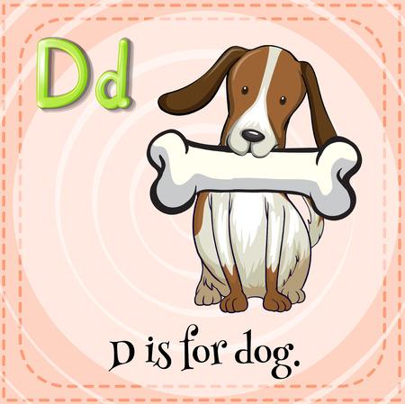 flash card: Flash card letter D is for dog Illustration