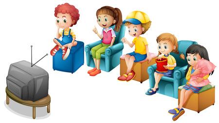 dessin enfants: Les gar�ons et les filles � regarder la t�l�vision sur des chaises