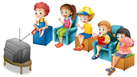 viendo television: Los niños y las niñas que miran la televisión en sillas Vectores