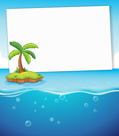 Blank banner with island and ocean background Vector