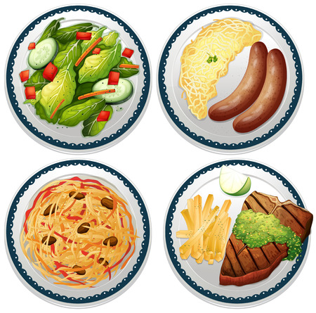 main dishes: Cuatro platos de plato principal Vectores
