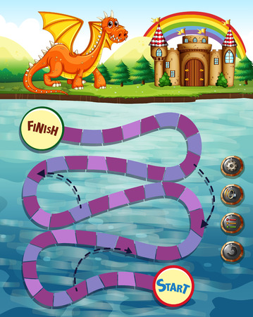 snakes and ladders: Boardgame template with dragon and castle Illustration