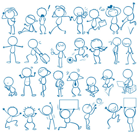 action: Doodles of people doing different things Illustration