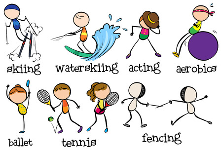 different types: Doodles different types of sports Illustration