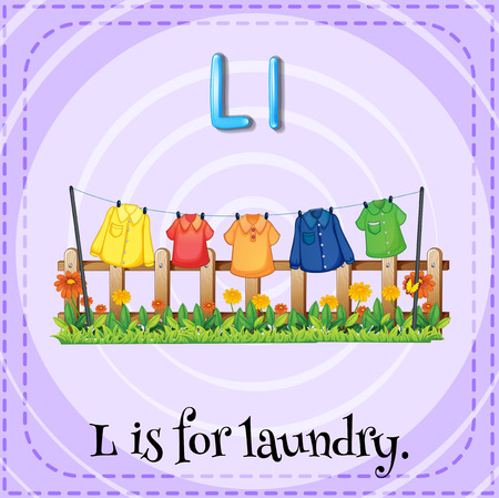 laundry: Flash card letter L is for laundry