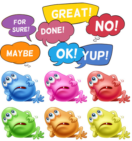 Monster thinking and different speech bubbles Illustration