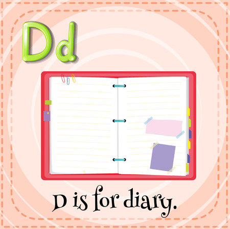 spelling book: Flashcard letter D is for diary