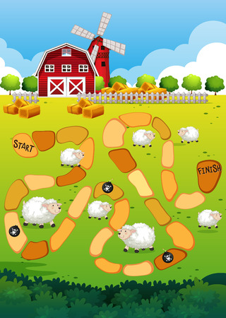 sheeps: Game template with view of farm in the background