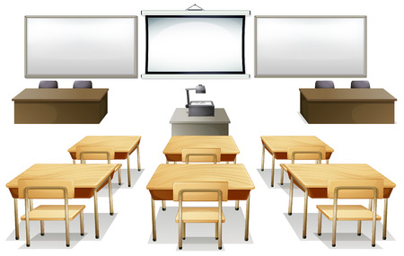 Empty classroom with monitor and desks Vector