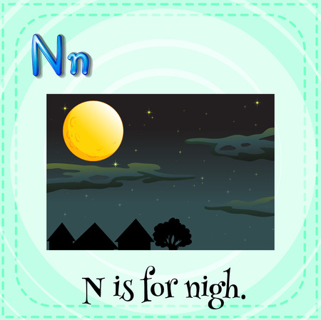 linguistic: Flashcard letter N is for night