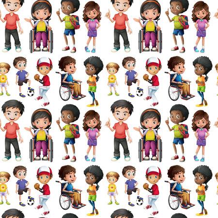 handicap: Seamless children in different actions