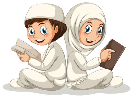 kids costume: Two muslims reading books together Illustration
