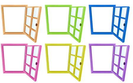cartoon window: Six different designs of window frames