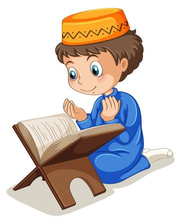 Close up muslim boy praying Vector