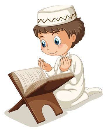 Close up muslim boy praying
