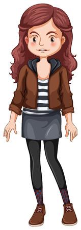 up skirt: Close up hipster girl standing Illustration