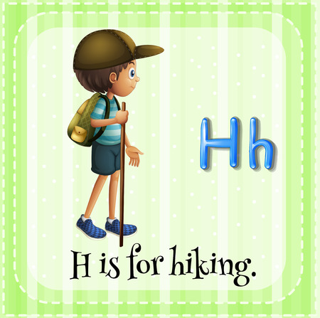 linguistic: Flashcard letter H is for hiking Illustration