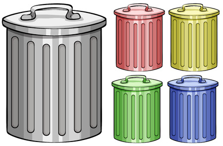garbage bin: Five different color trash cans Illustration