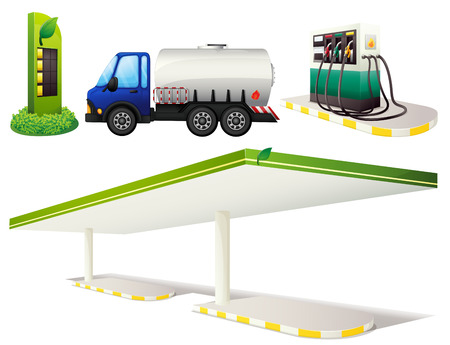 gas station: Gas station and fuel truck Illustration