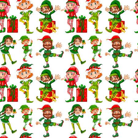 Elfos sin costura y los regalos de Navidad Vectores