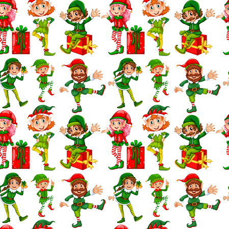christmas costume: Seamless elves and christmas presents