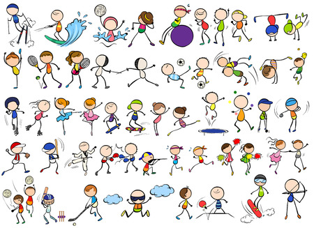 Doodles different kind of sports Ilustração