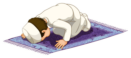 illustration people: Muslim praying on the carpet