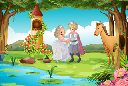 folk tales: Prince and princess being happy by the lake