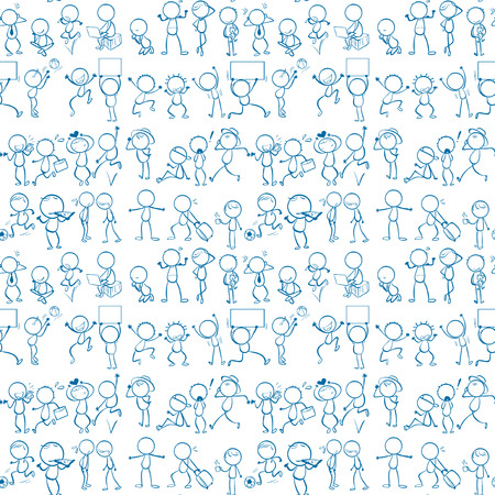 Seamless doodles people doing activities Vector