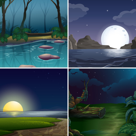 Four night scenes of the forest and lake Vector
