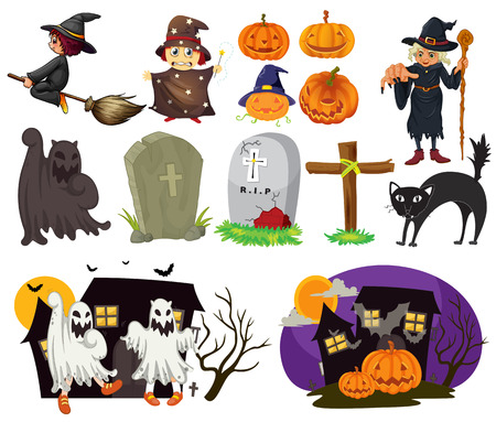 Different design of halloween items and scenes Illustration