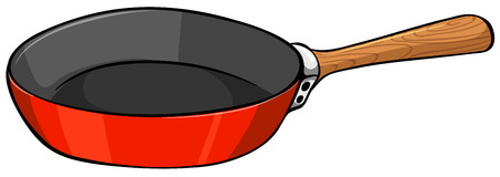 Close up frying pan with wooden handle