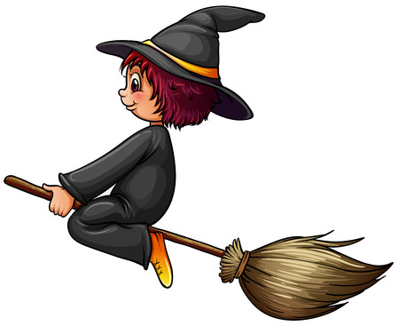 Close up witch riding on a broom