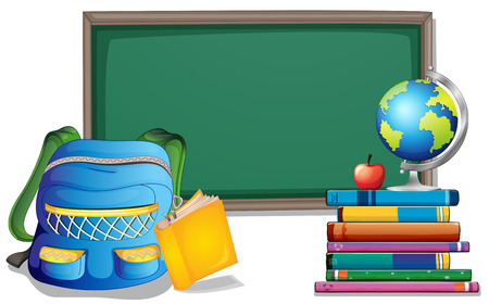 school illustration: Empty blackboard with backpack and books on the sides