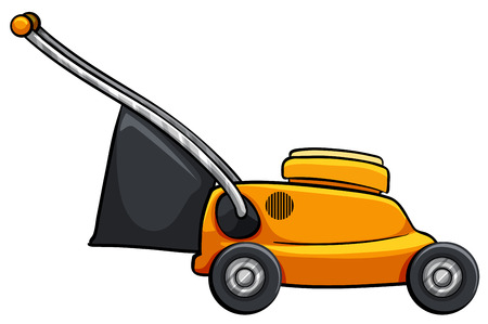 Close up lawnmower with trash bag Vector