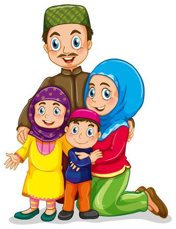 papa y mama: Familia musulmana con el padre y la madre