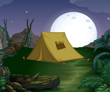 Camping ground on the fullmoon Vector