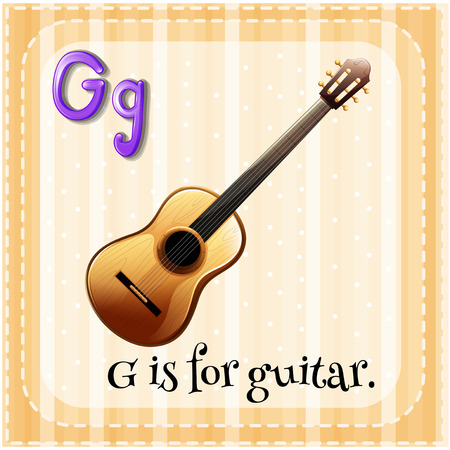 writing instrument: Flashcard letter G is for guitar Illustration