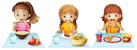 ni�os desayuno: Muchachas que comen en la mesa de comedor Vectores