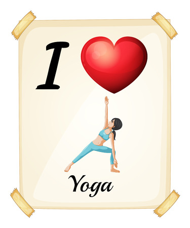 wording: Poster I love yoga on the wall Illustration