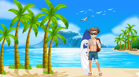 cool man: Man standing on the beach with giant wave in the back Illustration