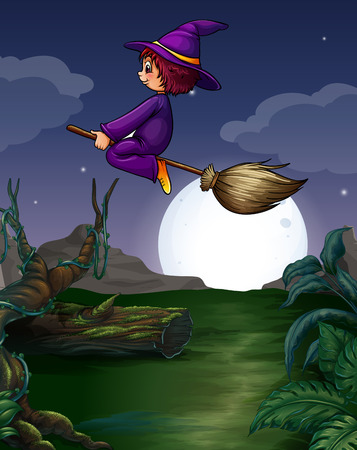 Witch riding on a broom at night Vector