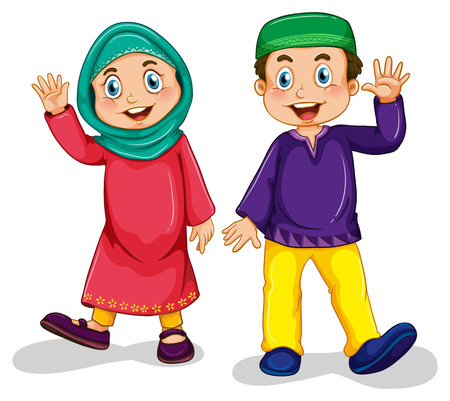 culture character: Boy and girl muslim in traditional costume