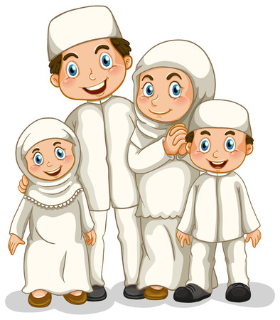 family isolated on white: Close up muslim family with all members