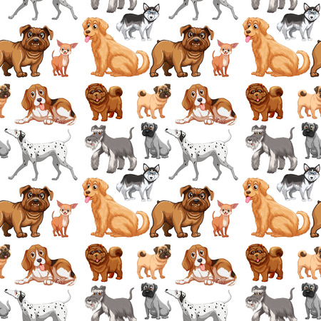 Seamless different kinds of dogs