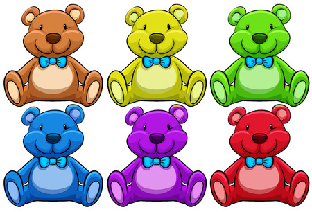 stuffed animals: Six different colors of teddy bear