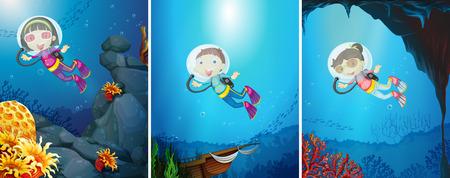 scuba diving: Mensen doen duiken onder de oceaan
