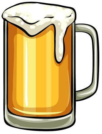 Close-up glas bier vol schuim Stock Illustratie